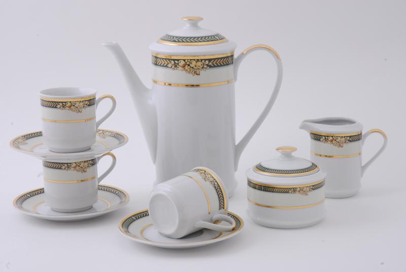 Сервиз кофейный 15 предм. чаш. 0,15л, форма сабина, a126, фарфор, leander (654617)